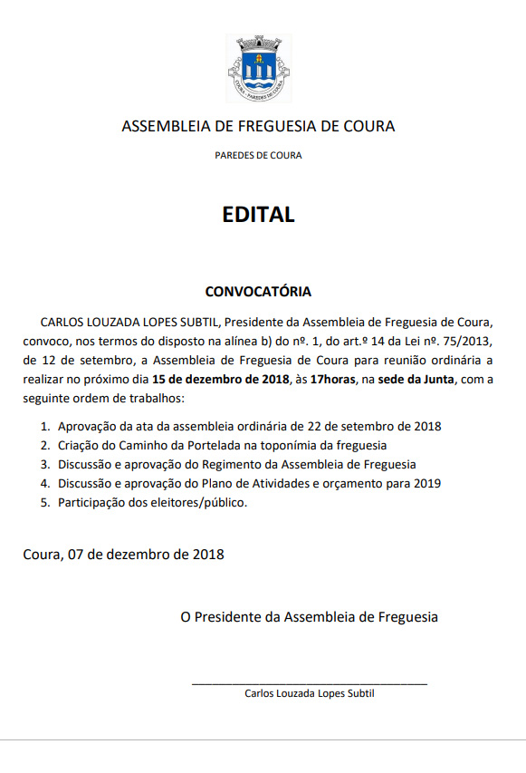 Freguesia De Coura Concelho De Paredes De Coura Distrito De